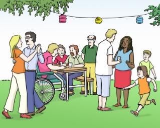Frauen, Männer und Kinder aus unterschiedlichen Kulturen mit und ohne Behinderung feiern gemeinsam ein Gartenfest. Ein Paar tanzt vorne links, aim Hintergrund sitzen Menschen gemeinsam am Tisch. Ein Mann sitzt im Rollstuhl. Ein Kind kommt von rechts gelaufen.